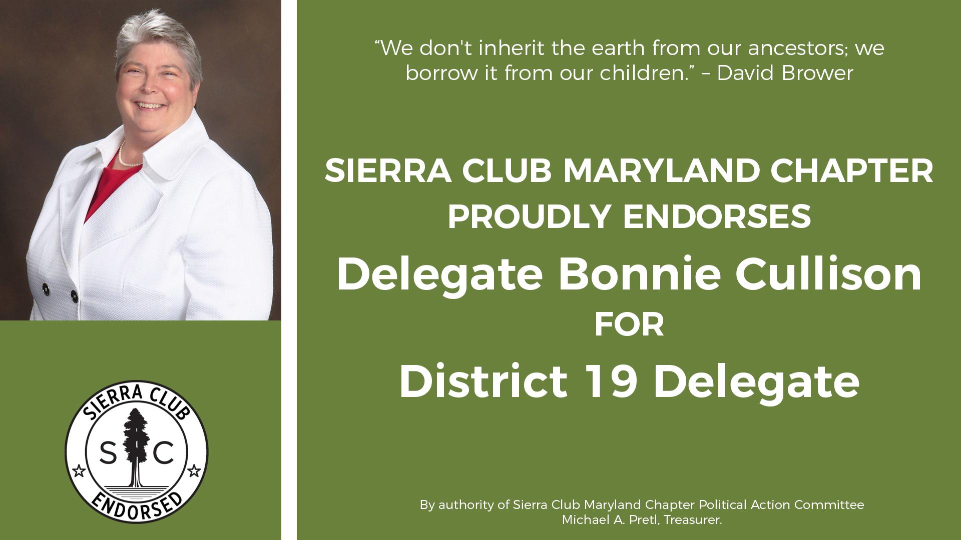 Sierra Club Proudly Endorses Delegate Bonnie Cullison for District 19 Delegate