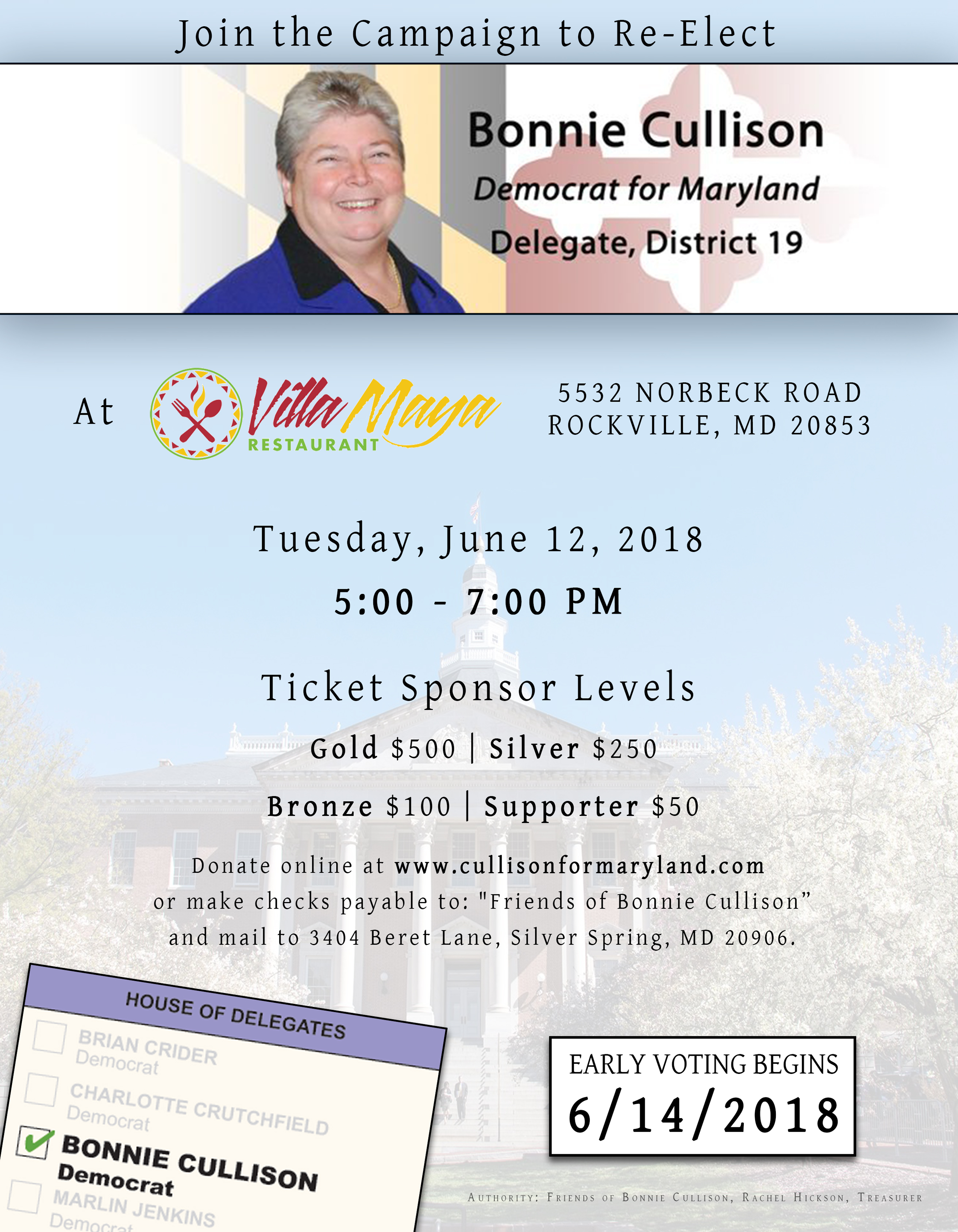 Join us at Villa Maya Restaurant, at 5532 Norbeck Road, Rockville, MD 20853, on Tuesday, June 12, 2018, from 5pm to 7pm. Tickets levels begin at $50.